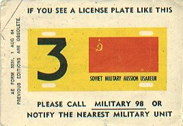 Soviet War Mission License Plate - USAEUR